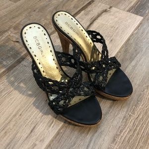 BCBGirls leather & cork heels, size 7